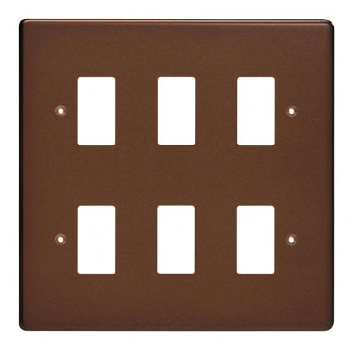 Varilight XDMPG6 PowerGrid Mocha 6 Gang Grid Plate (Double Twin Plate)